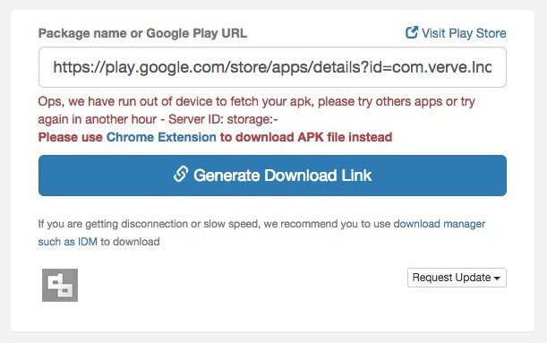 Download APK Files From Google Play Store Error
