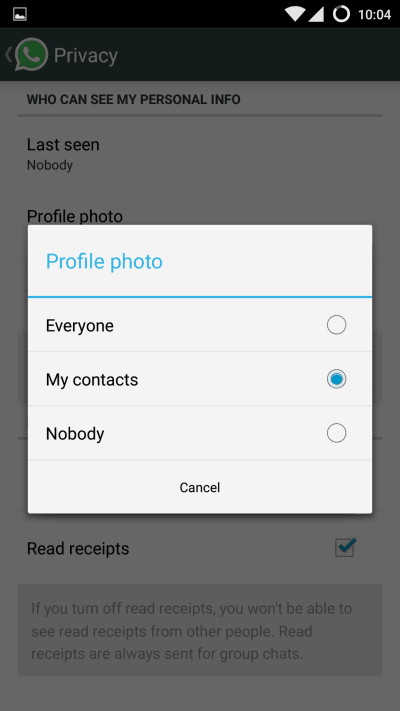 WhatsApp Profile Pic Privacy
