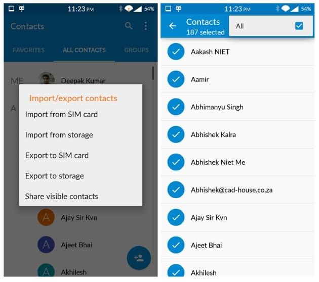 Backup Contacts Manually Import Export
