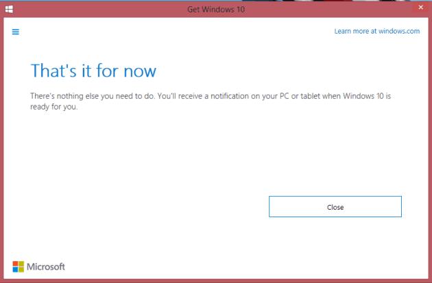 Get Windows 10 Message