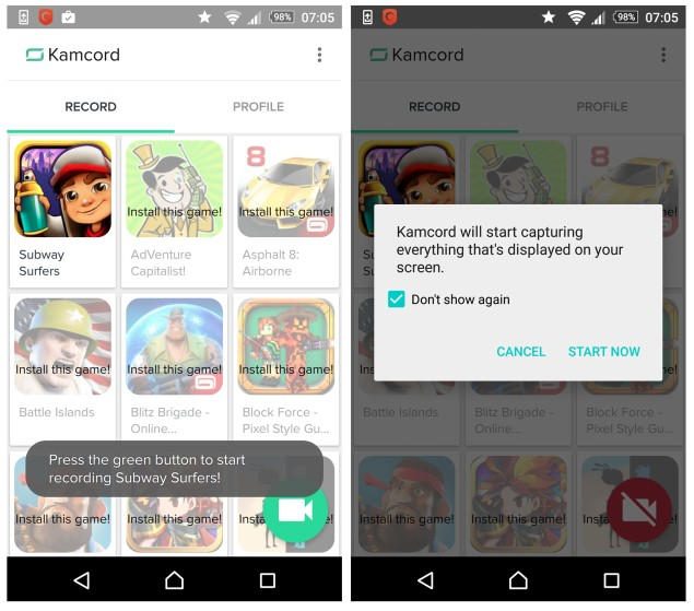 Record Android Game Video Kamcord