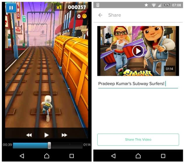 Record Android Game Video Subway Surfers