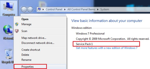 Windows Service Pack 1