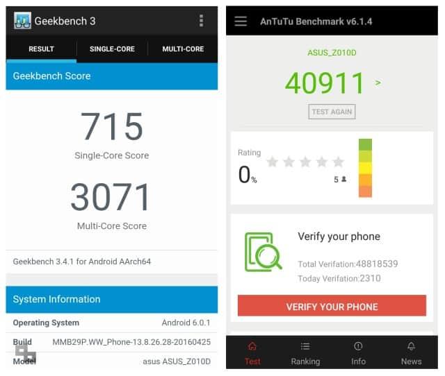 ASUS ZenFone Max 2016 Benchmark Score