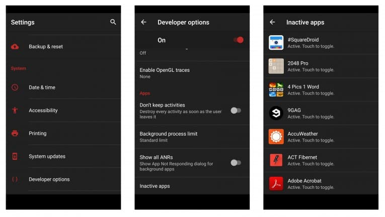 Android Inactive Applications Apps